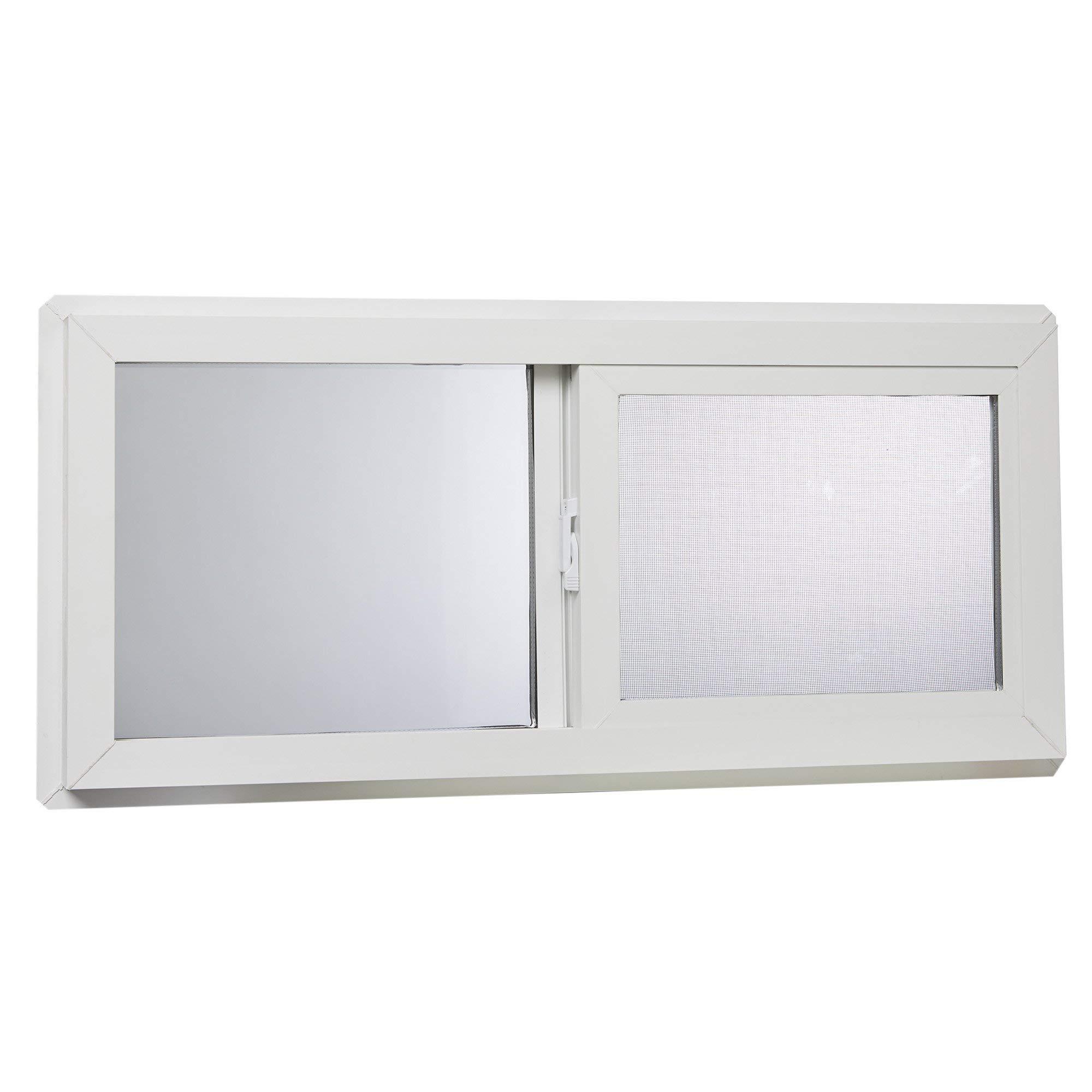 Park Ridge VBSI3214PR Vinyl Basement Slider Window, 32'' x 14'', White (Renewed) by Park Ridge Products