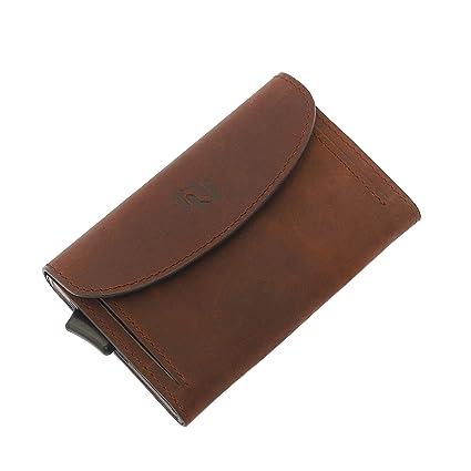 Rango Pocket Cartera Piel Minimalista Pequeña con Tarjetero y Monedero Bloqueo RFID Automático Aluminio - Billetera Hombre y Mujer Delgada - Mini ...