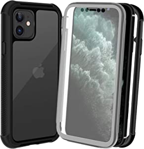 AMZGO iPhone 11 Case, Clear Full Body Cover with Built-in Screen Protector, Heavy Duty Rugged Bumper Shockproof Case Compatible With iPhone 11 6.1 inch-Black/Clear