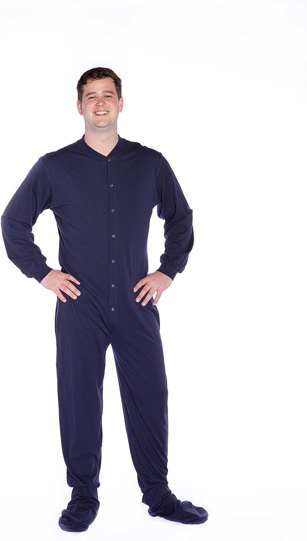 Big Feet Pajamas Grey Jersey Knit Adult Footed Pajamas with Drop Seat Onesie