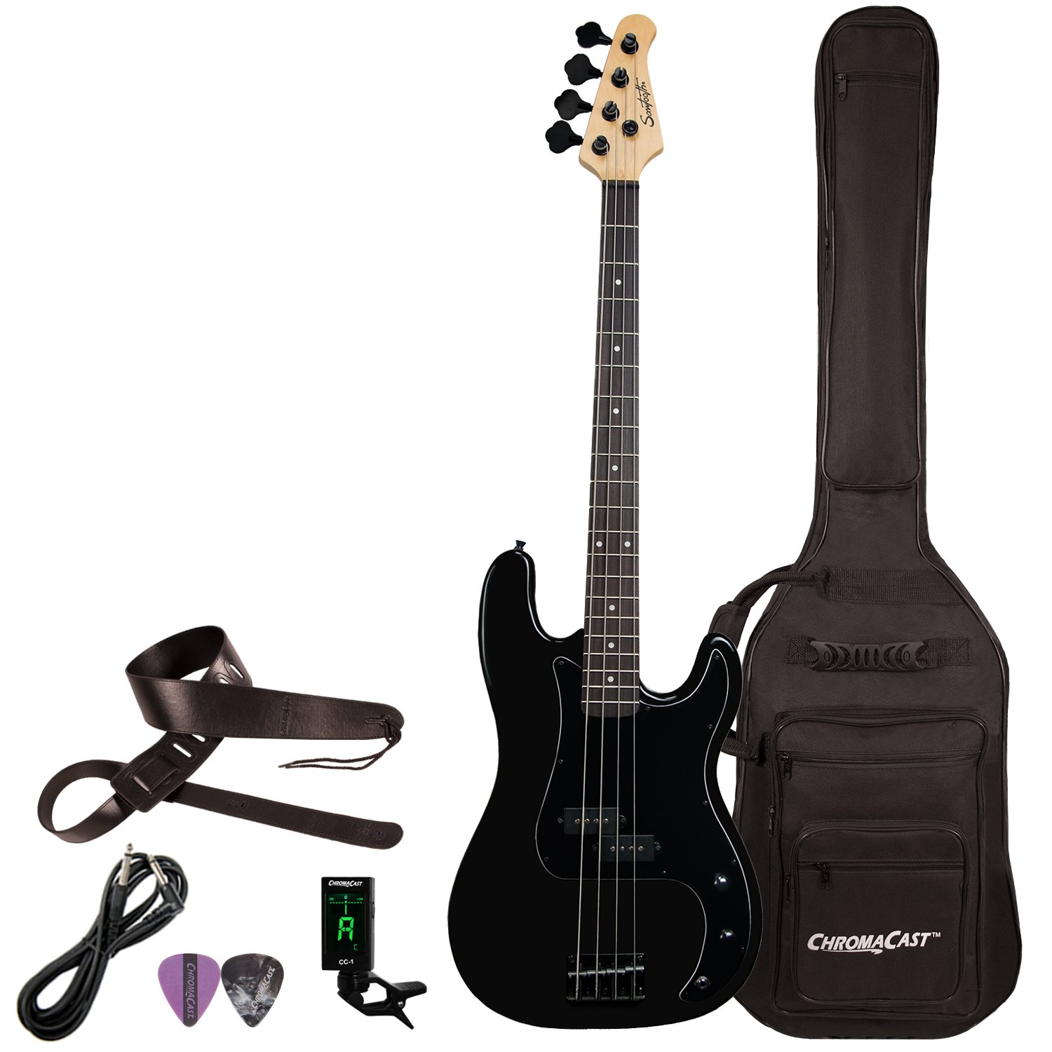Sawtooth 4 String EP Series Electric Bass Guitar with Gig Bag & Accessories, Satin w/Black Pickguard, Right Handed (ST-PB-STNBKB-KIT-1) by Sawtooth (Image #1)