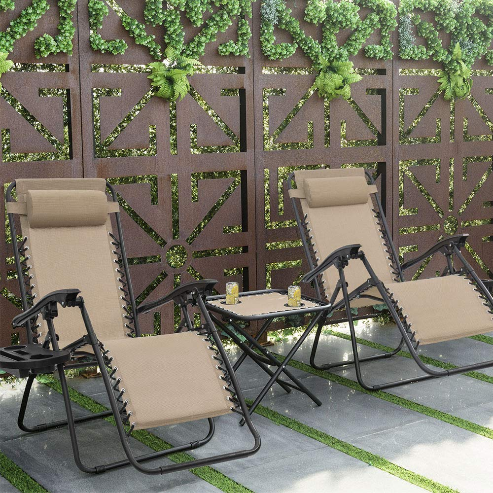 Devoko Patio Zero Gravity Chair Outdoor Adjustable Folding Lounge Chairs Pool Side Using Reclining Lawn Chair with Pillow and Tray Holder Set of 2 Beige