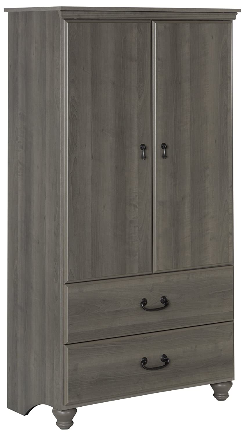 South Shore 2-Door Armoire with Adjustable Shelves and Storage Drawers, Gray Maple 10243