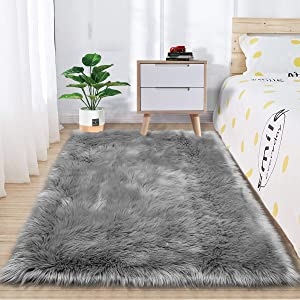Zareas Super Soft Fluffy Bedroom Rugs, Luxurious Plush Faux Fur Sheepskin Area Rugs for Living Room Indoor Floor Couch Chair Vanity Home Decor Nursery Kids Girls Shaggy Carpet, Grey (3 x 5 Feet)