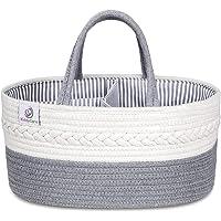 KiddyCare Baby Diaper Caddy Organizer - Stylish Rope Nursery Storage Bin 100% Cotton Canvas Portable Diaper Storage…