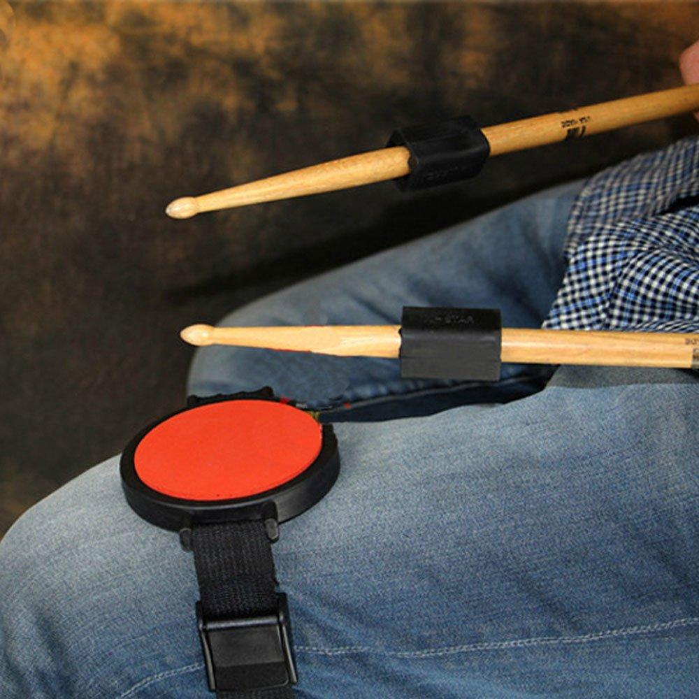 moonembassyサイレント脚ドラム練習パッドwithストラップ, with 2pcsドラムスティック重量Addition   B06Y4PTJGQ
