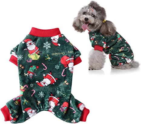 CooShou Christmas Dog Pajamas with Santa Claus Snowflake Pattern Soft Coral Fleece Pet Winter Pajamas Dog Jumpsuit Pjs Warm Sweater Clothes for Small Dogs and Cats Green S