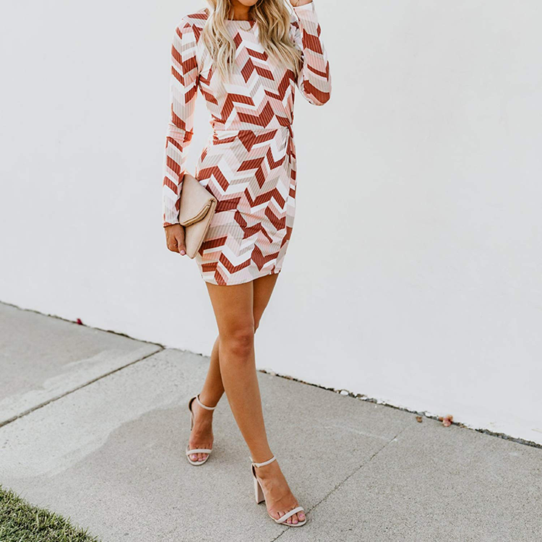 SSTQSAA Women Girls Fashion Round Neck Long Sleeve Elegant Dress Jitterbug Ribbed Twist Dress