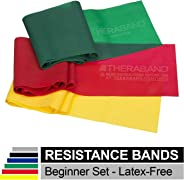 TheraBand Resistance Bands Set, Professional Non-Latex Elastic Band For Upper & Lower Body Exercise,Yellow & Red & Green