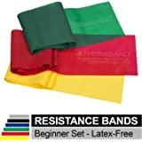 TheraBand Professional Non-Latex Resistance Bands for Upper and Lower Body Exercise, Strength Training Without Weights, Physical Therapy, Lower Pilates, and Rehab, Yellow & Red & Green, Beginner Set