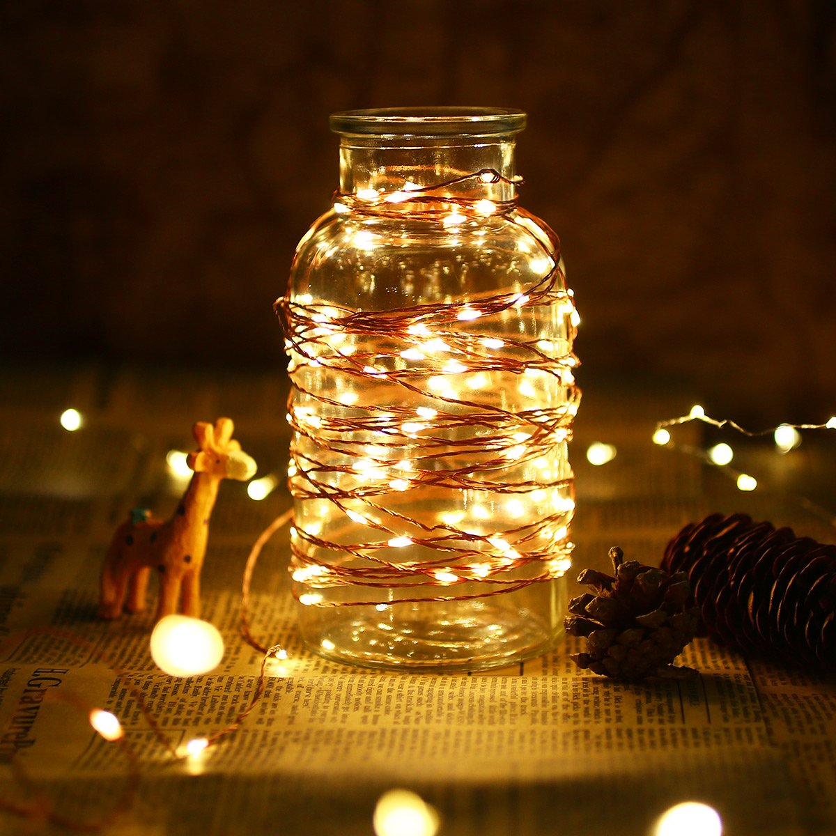 LE 200 LED 65ft Copper Wire String Lights Warm White Starry Fairy String Lights Waterproof Firefly Lights for Indoor Outdoor Decoration for Home Garden Patio Wedding Party, UL Power Adaptor Included by Lighting EVER