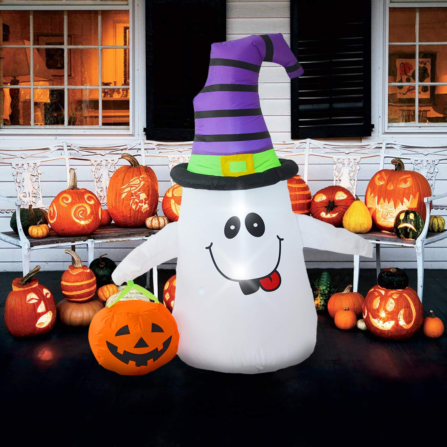 DIGIANT 4 Foot Halloween Inflatable Air Blown Ghost with Jack-O-Lantern Pumpkin/Witch Hat Lighted for Home Yard Garden Indoor and Outdoor Decorations