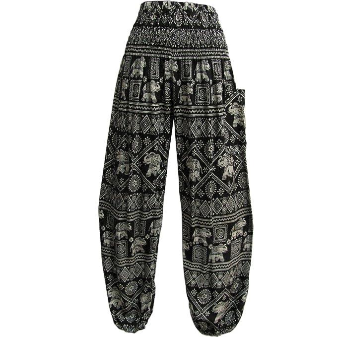 4bc9cdcb08207 Indian Bohemian Gypsy Elephant Print Yoga Meditation Harem Pants (Black)
