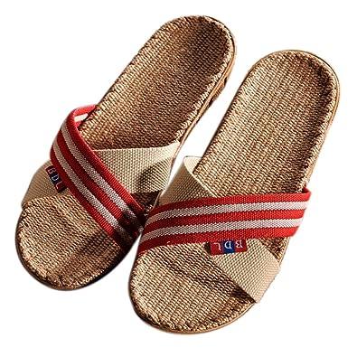 nuovi oggetti seleziona per originale nuova stagione G1 Donna Pantofole di Lino Naturale con Fasce Incrociate