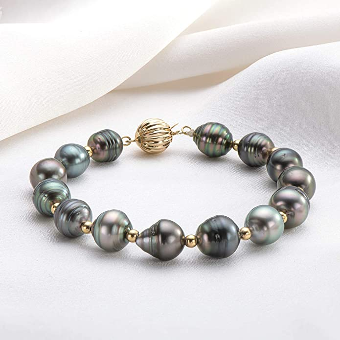 """Details about  /HUGE AAA 12-13MM SOUTH SEA WHITE BAROQUE PEARL BRACELET 7.5-8/"""" 14K GOLD CLASP"""