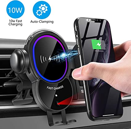 [Upgraded]Wireless Car Charger Mount Triangle Linkage Automatic Clamping 10W Qi Fast Charging Air Vent Phone Holder,Infrared Sensing Compatible with