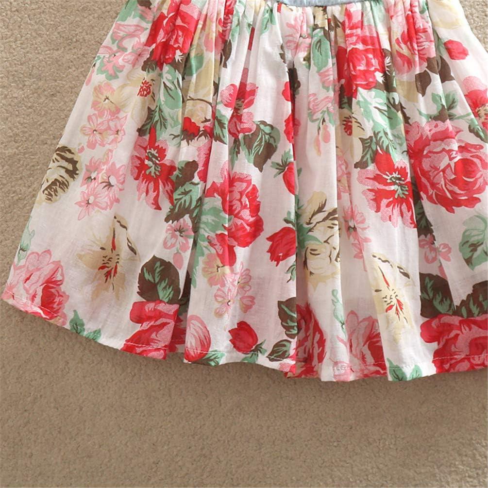 Niyage Toddler Girls Princess Dress Sleeveless Denim Tops Floral Tutu Skirts