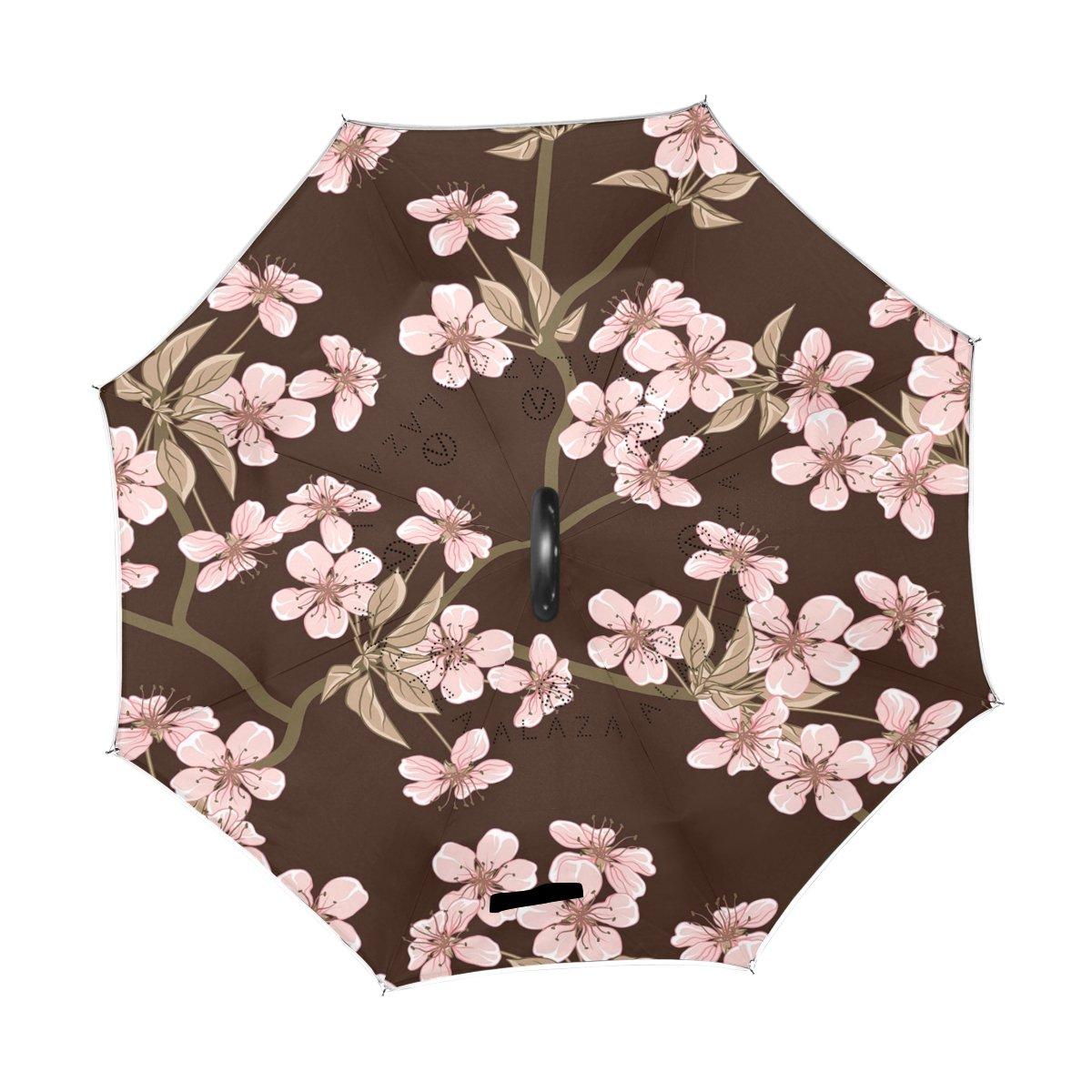Wamika - Paraguas inverso para coche, doble capa, protección UV, paraguas invertido, vector de cerezo con paraguas negro de apertura automática, ...