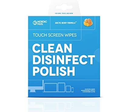 Nordic Hug Toallitas desinfectantes para pantallas táctiles - 12 toallitas naturales y biodegradables para limpiar y