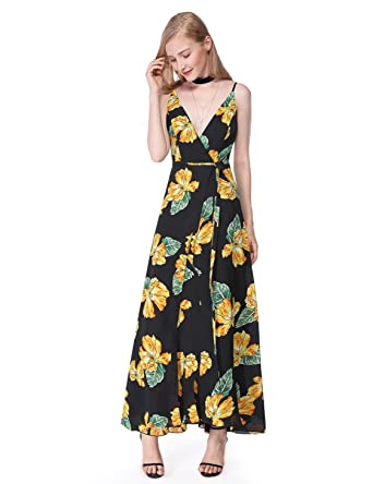 f0d1671b0fe60 Alisa Pan Womens Floor Length Sleeveless Printed Thigh High Slit Maxi Dress  4 US Black