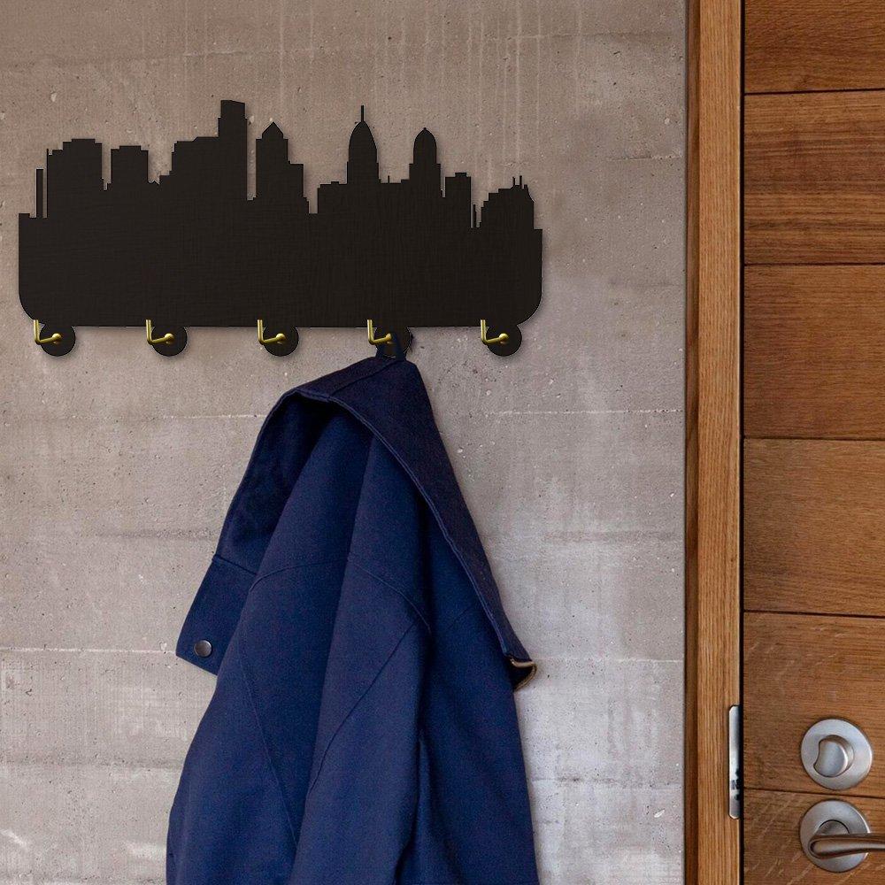 America Philadelphia Skyline Tourist Attraction Modern Decor Wall Hooks Clothes Coat Robe Hooks Towel Hooks Keys Holder Bedroom Bathroom Hanger