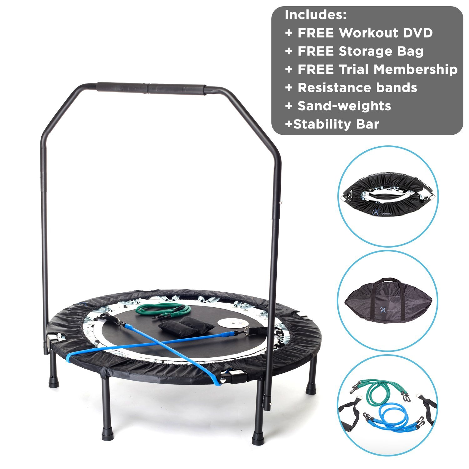 Maximus Pro Quarter Foldable Rebounder Mini Trampoline for Adults Includes 2 x DVD's + 7 Workouts, Rebounder with Handle Bar, Storage/Carry Bag, Resistance Bands & Weights Free Video Membership! Adult by MXL MaXimus Life