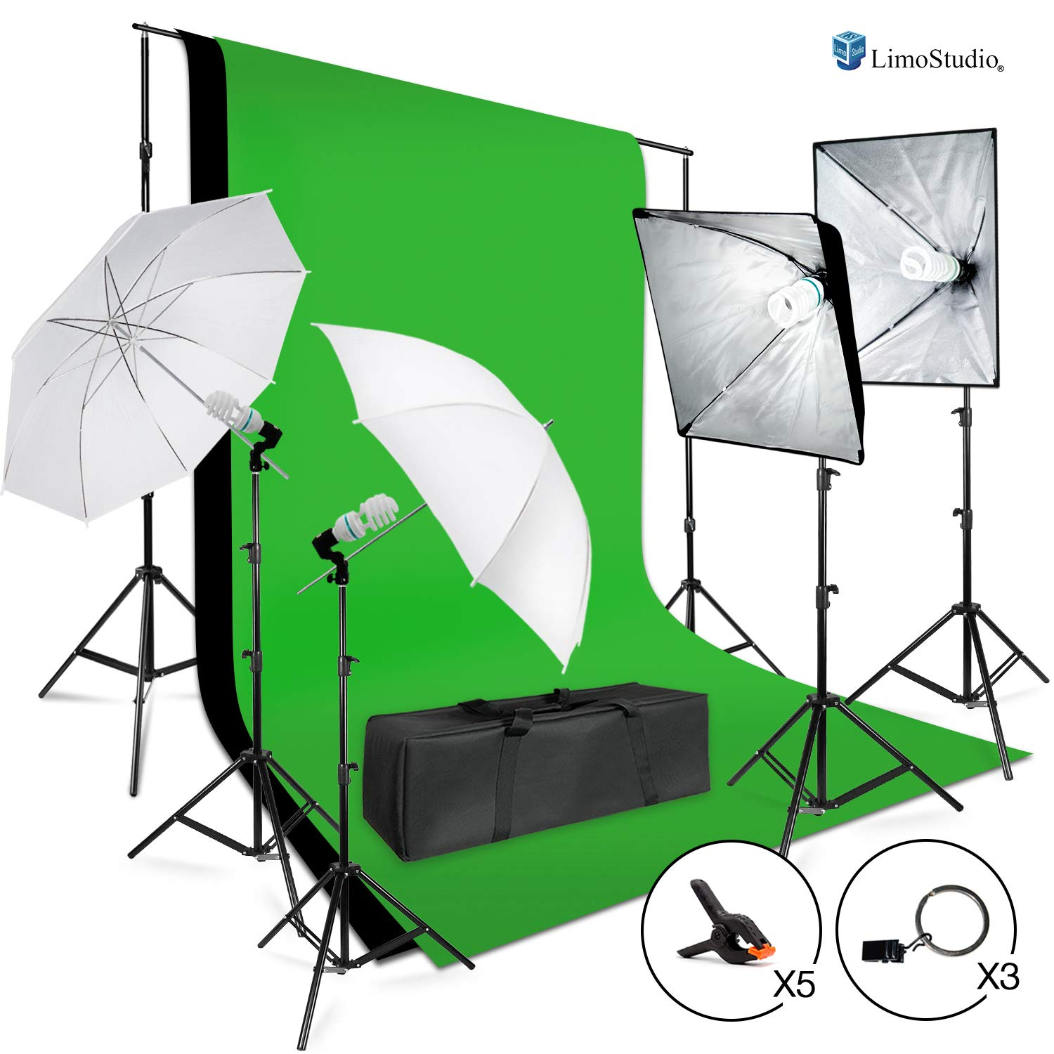 LimoStudio Photo Shooting Kit with Background Support System & Umbrella Softbox Lighting Kit, Photo Video Studio, AGG1388 by LimoStudio