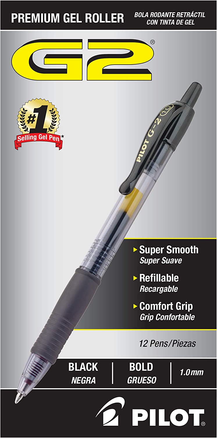 Pilot G2 Retractable Premium Gel Ink Roller Ball Pens, Bold Pt-Black: Office Products