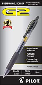 Pilot G2 Retractable Premium Gel Ink Roller Ball Pens, Bold Pt-Black