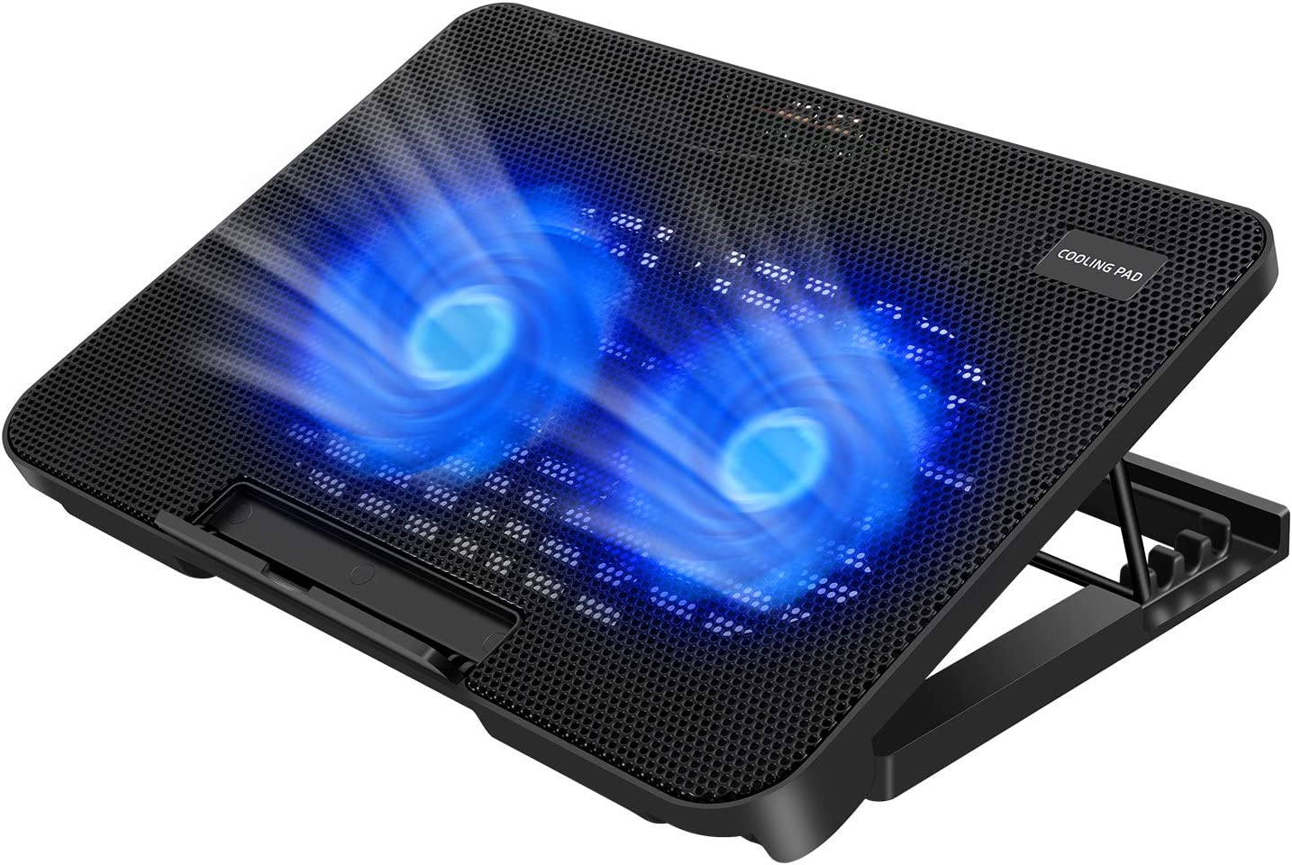 11-15.6 Inch Laptop Cooler Cooling Pad 4 Heights Adjustment Ultra Slim Portable USB Powered 2 Quiet Big Fans 800-1200RPM Auto Adjust