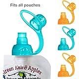 ChooMee SoftSip Food Pouch Tops | 100% Silicone | Orange Aqua | 4 CT