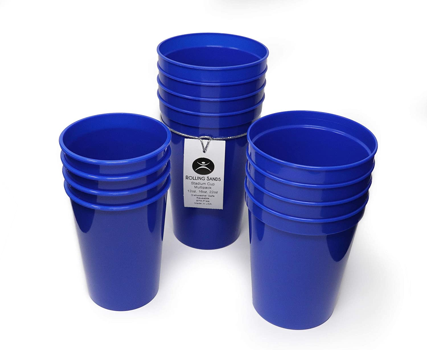 Rolling Sands 12 Pack Reusable Plastic Stadium Cups, Multipack of 3 Cup Sizes - 12oz, 16oz, 22oz – Made in USA, BPA-Free, Dishwasher Safe Plastic Tumblers - Set Includes 4 Blue Cups of Each Size