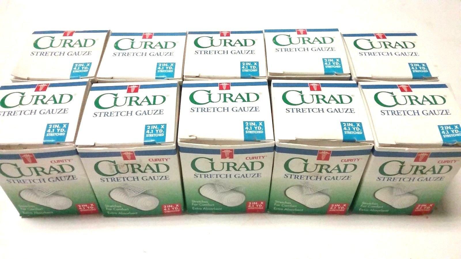 10 Rolls - Curad 2'' x 4.1 YDs. Stretch Gauze - Individually Sealed Rolls - USA by Curad