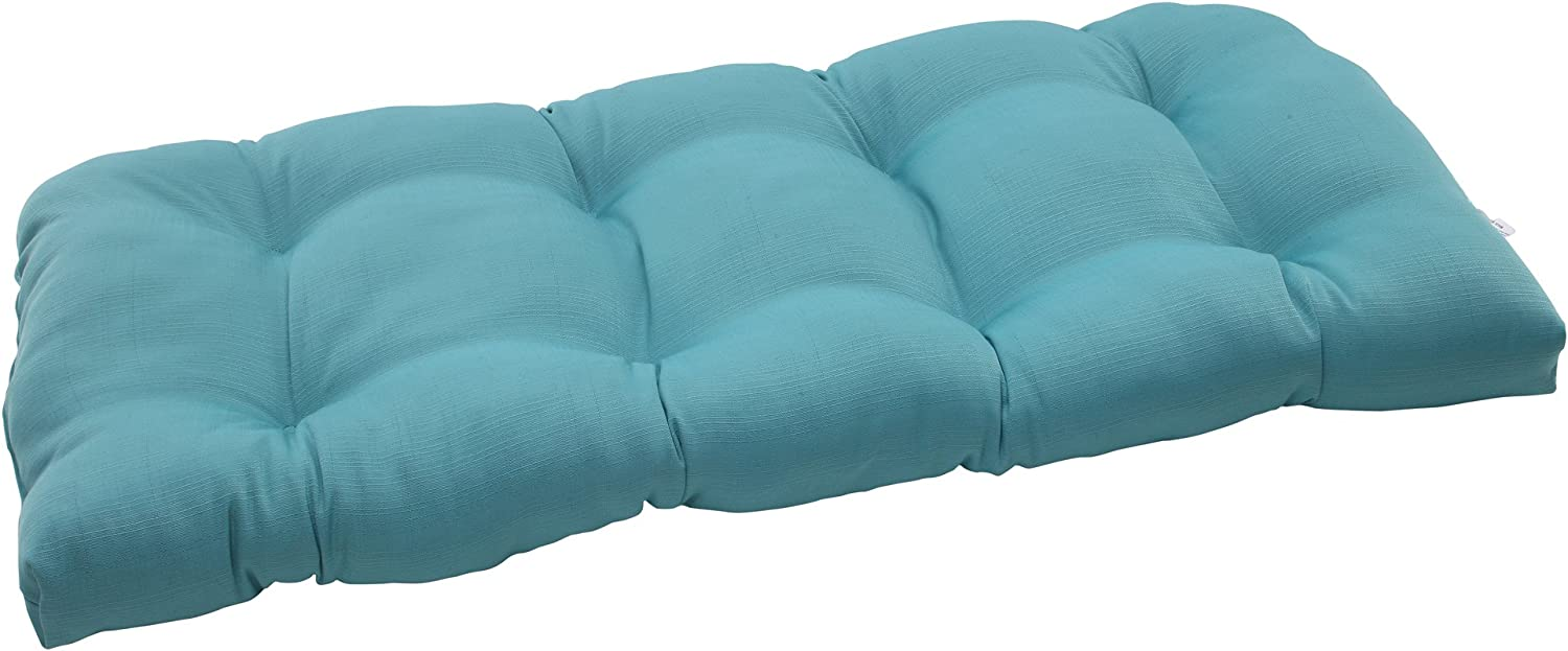 Pillow Perfect Outdoor Forsyth Wicker Loveseat Cushion, Turquoise