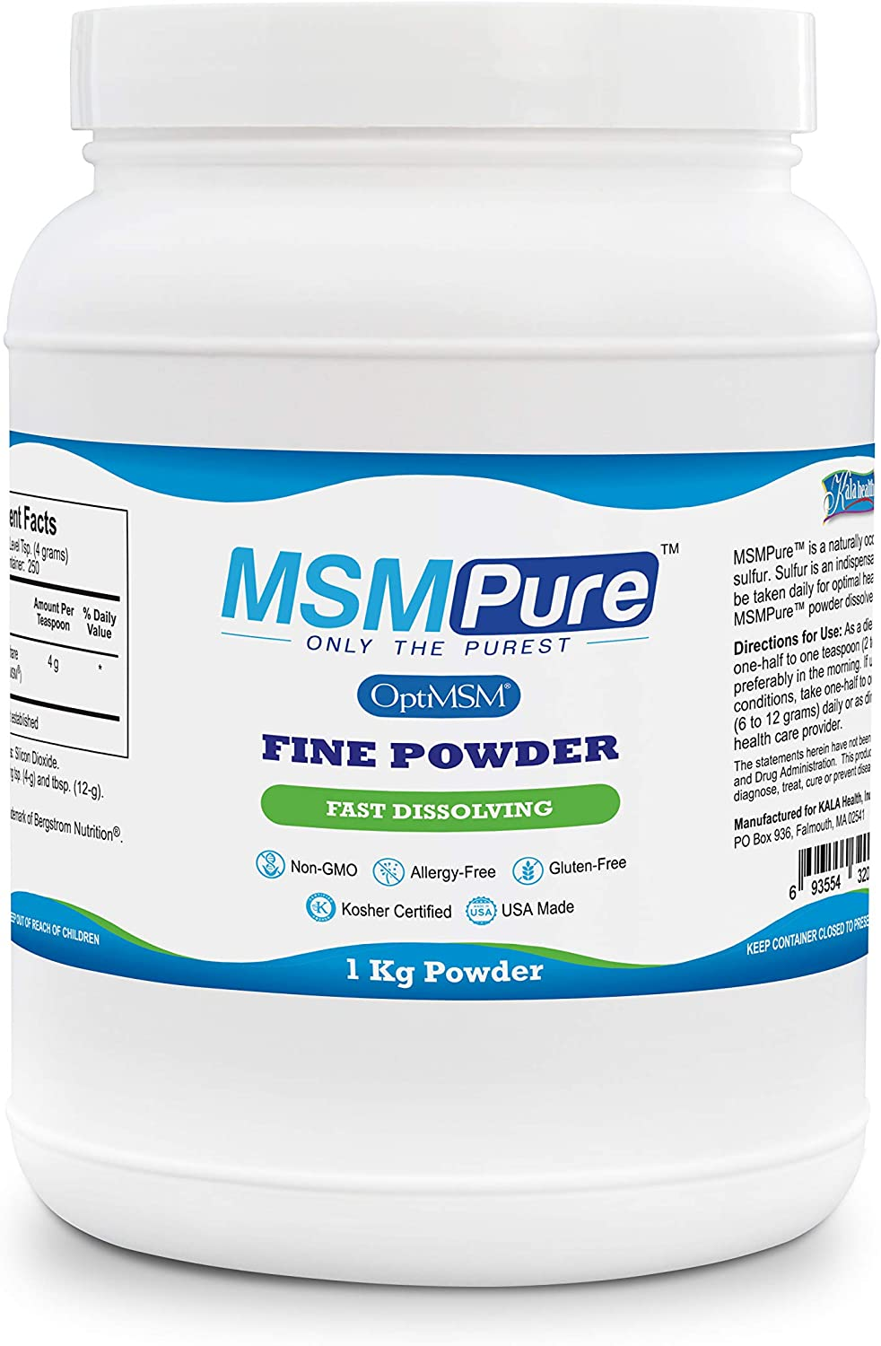 Kala Health MSMPure Fine Powder, 2.2 lb, Fast Dissolving Organic Sulfur Crystals, 99% Pure Distilled MSM Supplement, Made in USA