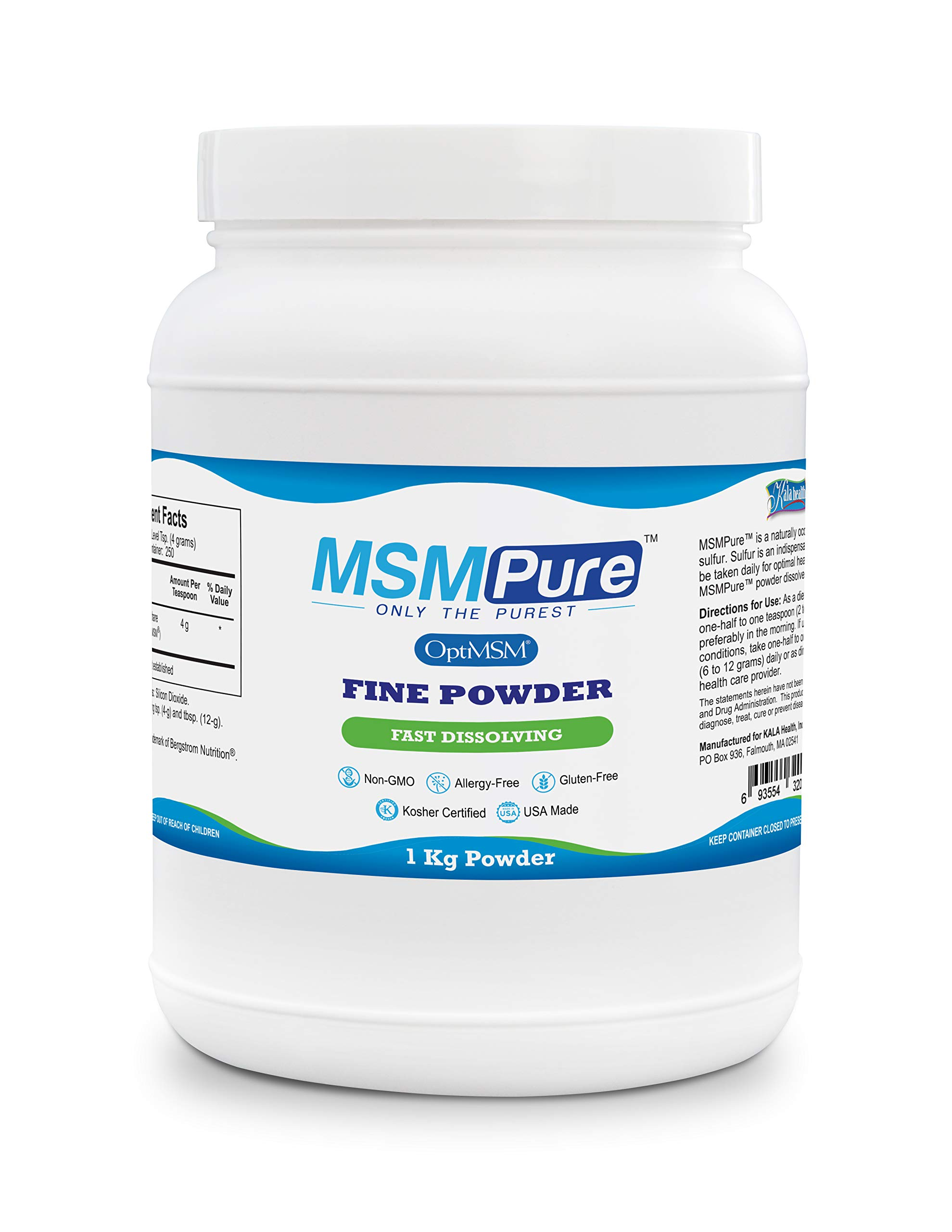 Kala Health MSMPure Fine Powder, Fast Dissolving Crystals, 2.2 lbs, Pure MSM Organic Sulfur Supplement for Joints, Muscle Soreness, Immune Support and Beauty, Skin,Hair & Nails. Made in USA