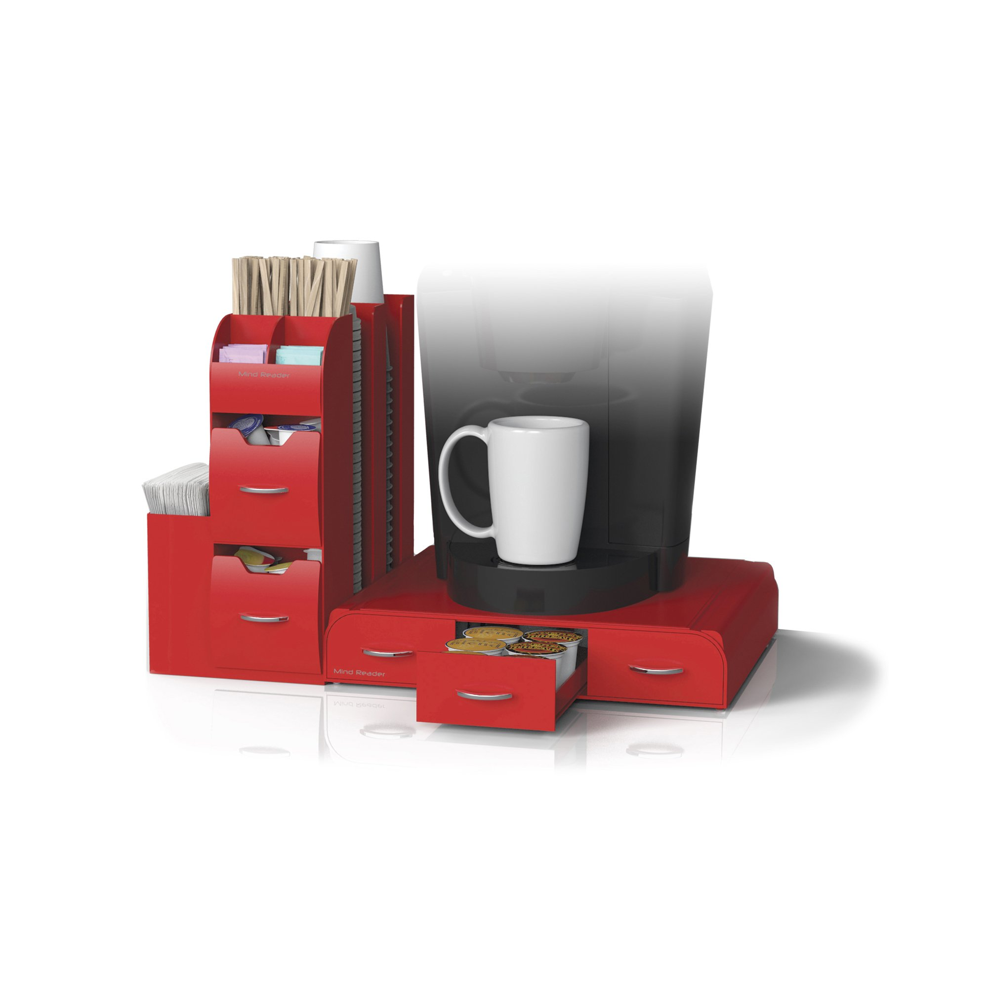 Mind Reader ''Combine'' 2-Piece Single Serve Coffee Pod Drawer and Condiment Organizer Station, Red