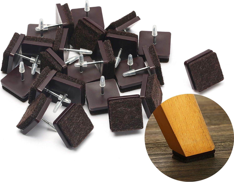 "Furniture Felt Pads Nail-on Heavy Duty Felt Pad Chair Sliders Square Chair Leg Floor Protectors 7/8"" Furniture Leg Protector 24 Pack"