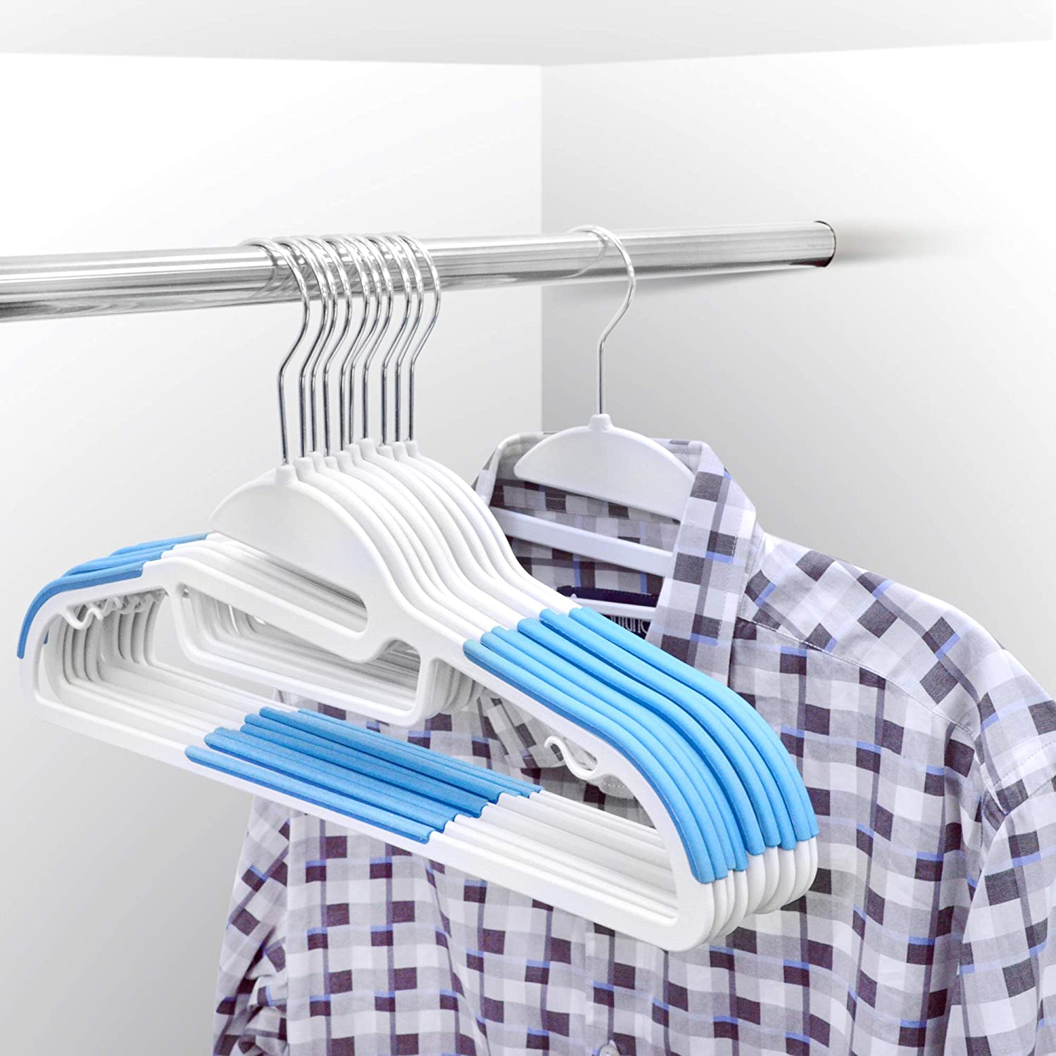 20 X Hangers Space Saving Non-Slip 360/º Swivel Hook Blue Coat Hangers Heavy Duty with S-shaped Opening Premium Quality Suits Clothes Hangers