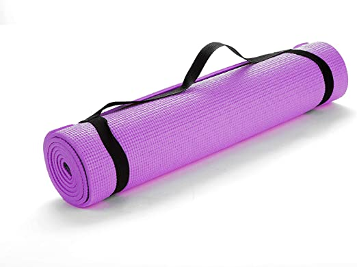 Amazon Com Mind Reader Yogapvc Pur All Purpose Extra Thick Yoga Fitness Exercise Mats With Carrying Strap High Density Anti Tear Purple Home Kitchen