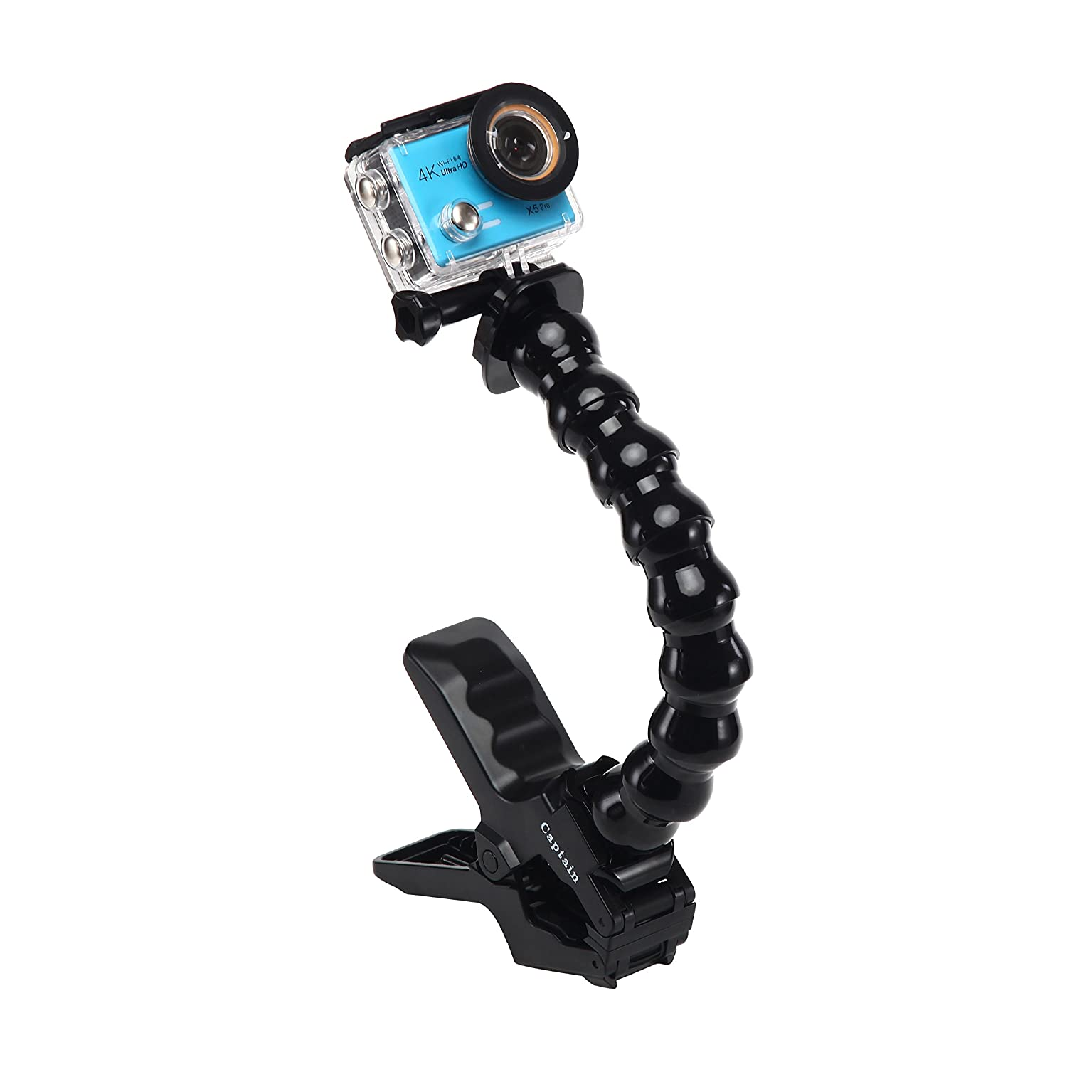 Adjustable Jaws Flex Clamp Mount with Adjustable Gooseneck for Gopro Hero 5 6 4 Accessories, Session, 3+, 3, 2, 1 & Sport Video Cameras By Captain