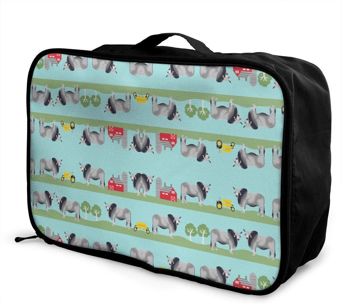 Bolsa de Equipaje portátil Multifuncional de Moda Bolsa de Almacenamiento de Viaje de Lona Plegable Impermeable - n Ganado Tejido Farm Ranch Design