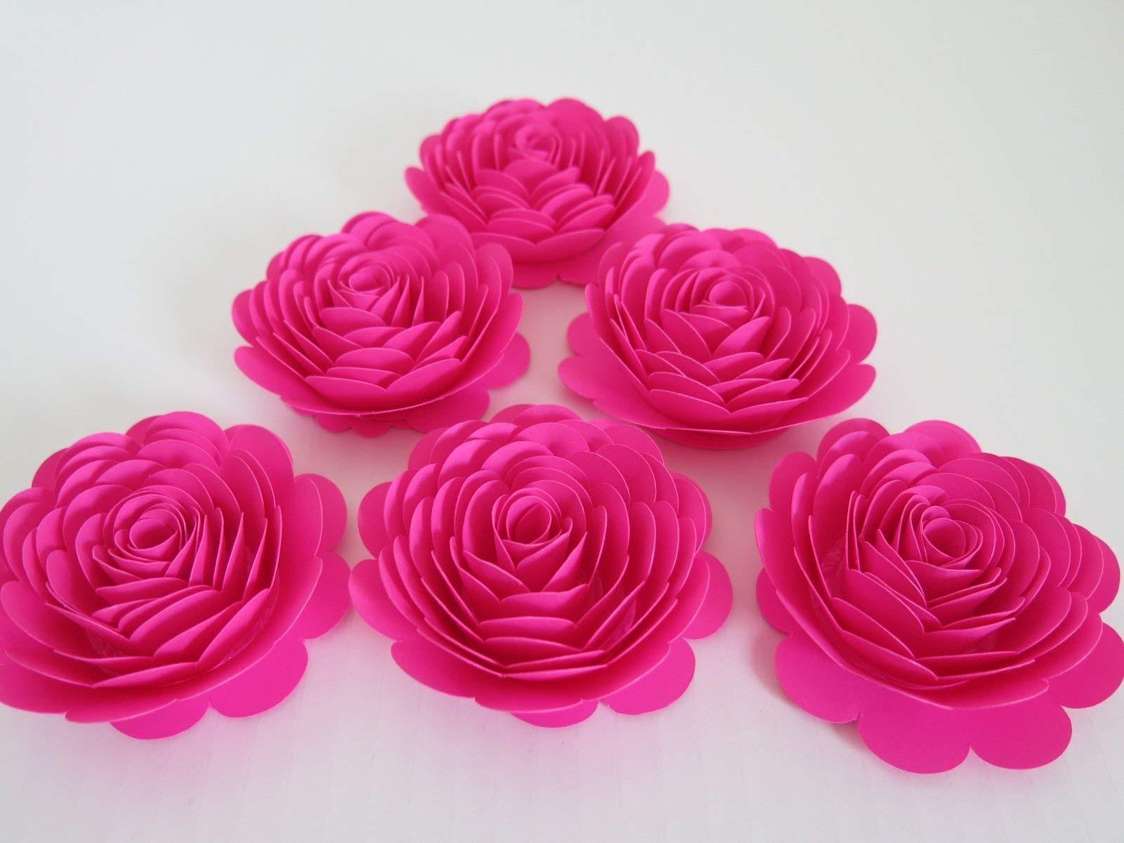81f980e1e6b3 Fuchsia-Paper-Flowers-3-Hot-Pink-Roses-Set-