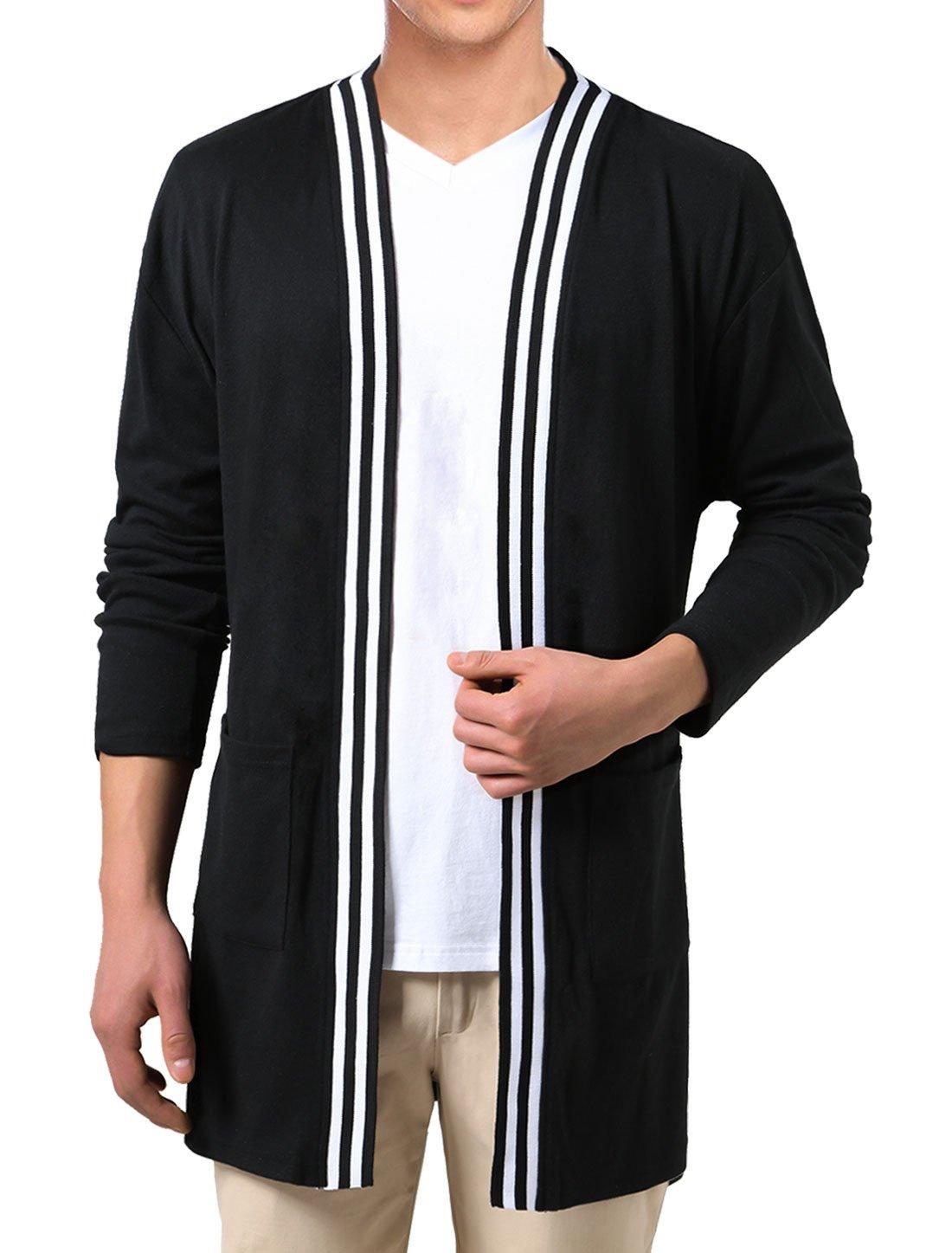 uxcell Men Shawl Collar Open Front Pockets Stripes Pattern Hem Cardigan L Black