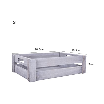 Basic House Ltd Whitebrown Wooden Apple Crates Storage Collection Box Display Tray 3 X Small White