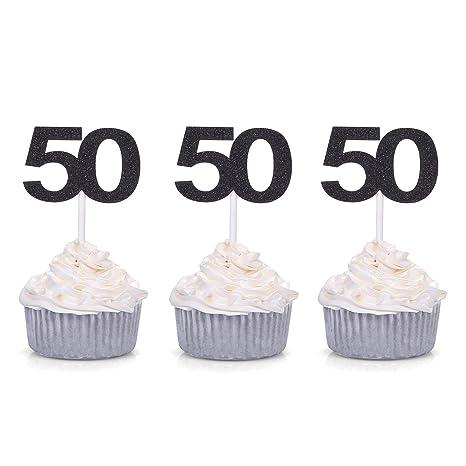 Amazon.com: Juego de 24 Número 50 Cupcake Toppers 50 ...