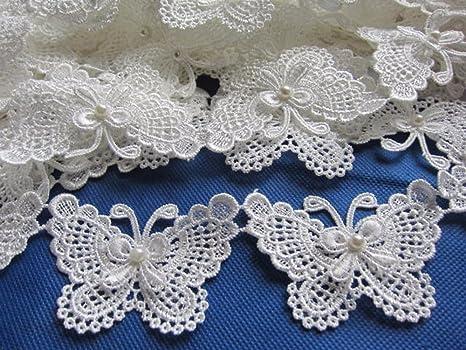 6 Colours Butterfly Lace Motif Embroidery Gown Applique Wedding DIY Trim 3 pcs