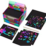 Scratch Paper Mini Art Notes 180 Sheets with 2 Stylus Pen, Rainbow Scratch Off Memo Cards for Kids Arts and Crafts, Creative