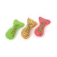 YEOWWW organic very strong catnip fish stinkies sardines cat toy pack of 3, colorful patterns - 7.5cm long