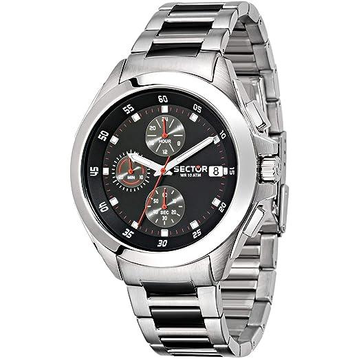 Reloj Sector 720 cronógrafo Hombre Acero Negro r3273687004: Amazon.es: Relojes